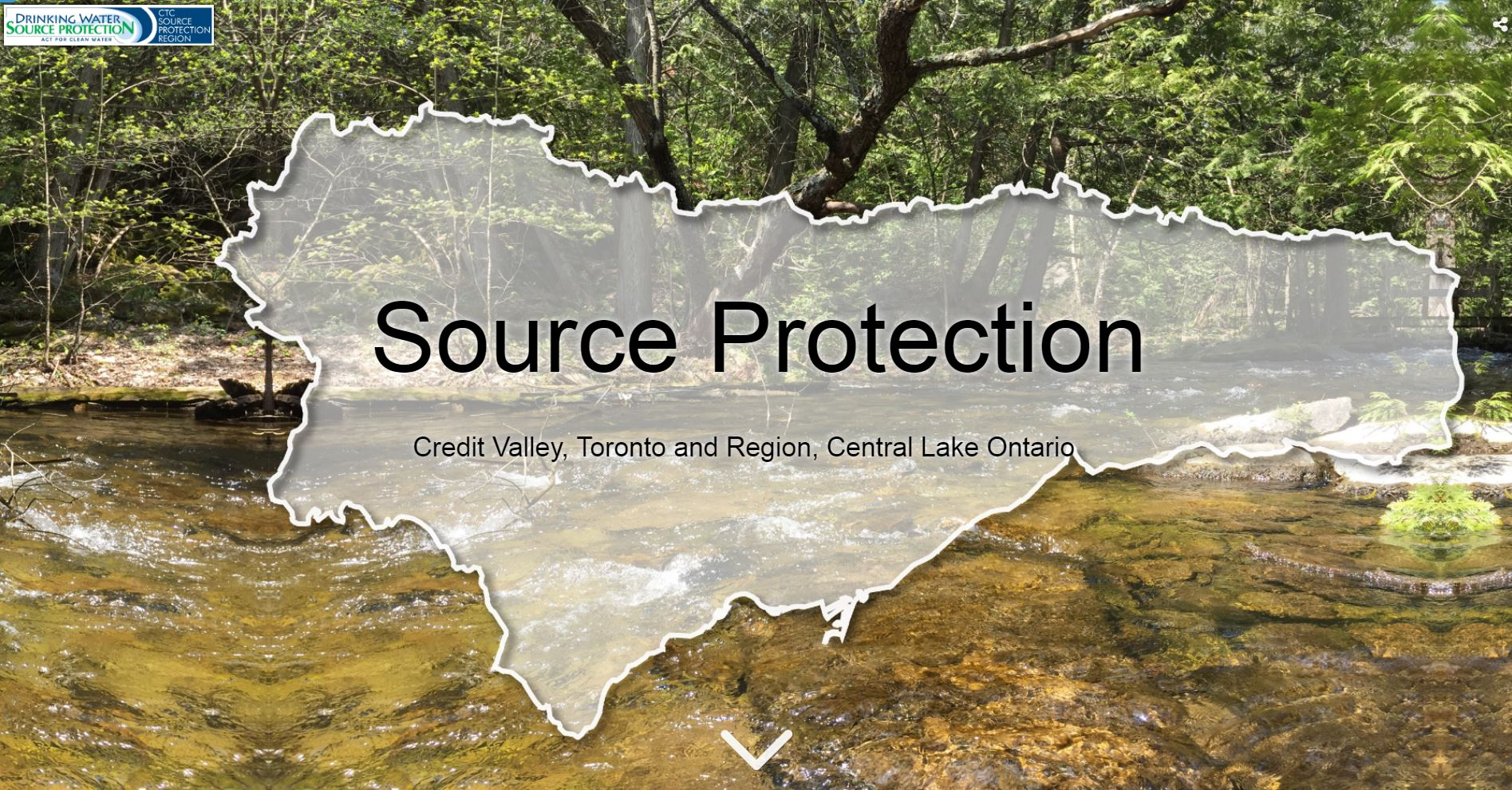 landing page of Source Protection story map