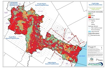 Credit Valley Source Protection Areas Groundwater Vulnerability Regional Model