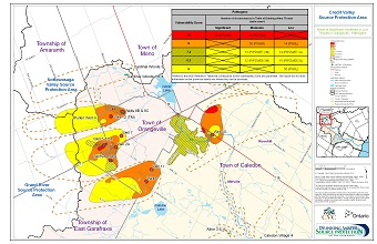 Areas of Significant Moderate or Low Threats in Orangeville - Pathogens