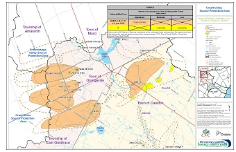 Areas of Significant Moderate or Low Threats in Orangeville - DNAPLs