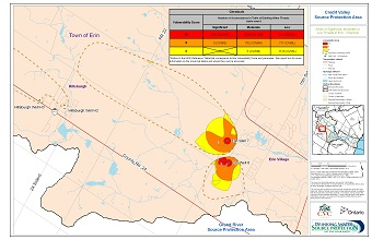 Areas of Significant Moderate or Low Threats in Erin - Chemical