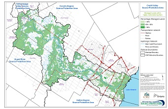 Credit Valley Source Protection Area - Managed Lands within Highly Vulnerable Aquifers