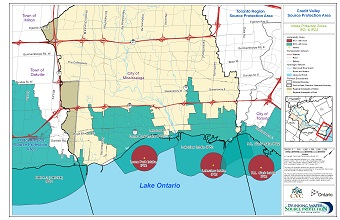 Credit Valley Source Protection Area Intake Protection Zones IPZ1 and IPZ2